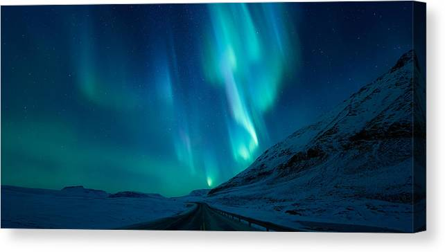Northern Lights Canvas Print featuring the photograph Driving Home by Tor-Ivar Naess
