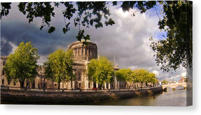The Four Courts In Reconstruction Canvas Print featuring the photograph The Four Courts In Reconstruction by Alex Art and Photo