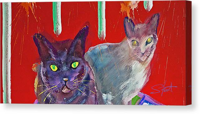 Cat Canvas Print featuring the painting Two Posh Cats by Charles Stuart