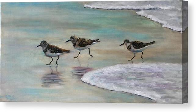 Sand Pipers Canvas Print featuring the painting Wave Runners by Karen Langley