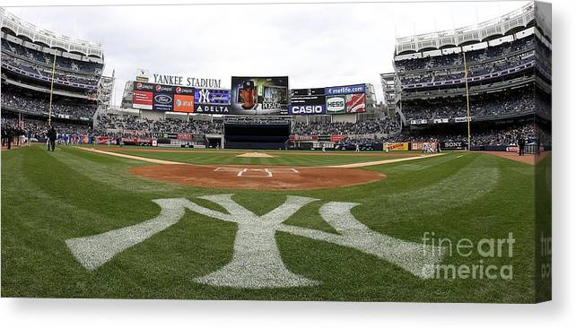 American League Baseball Canvas Print featuring the photograph Chicago Cubs V New York Yankees by Nick Laham