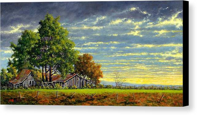 Landscape Canvas Print featuring the painting Dusk by Jim Gola