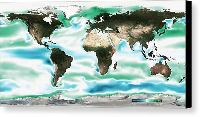 Map Canvas Print featuring the photograph Ocean-atmosphere Co2 Exchange by Noaa
