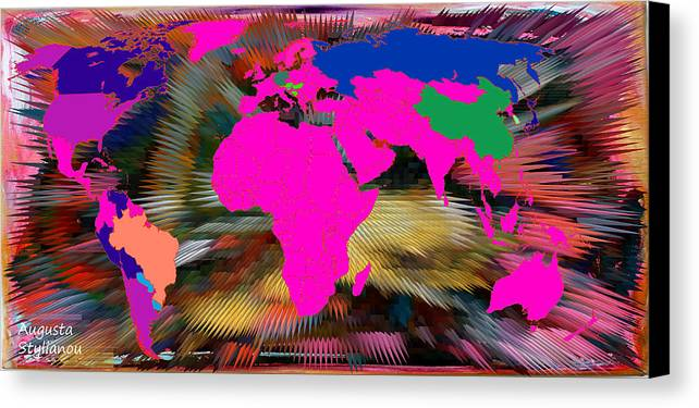 Augusta Stylianou Canvas Print featuring the digital art World Map And Human Life by Augusta Stylianou