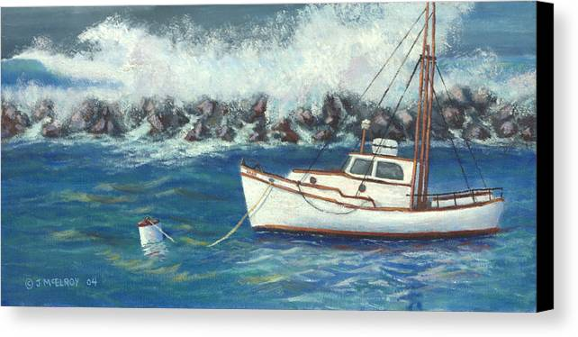 Ocean Canvas Print featuring the painting Behind The Breakwall by Jerry McElroy