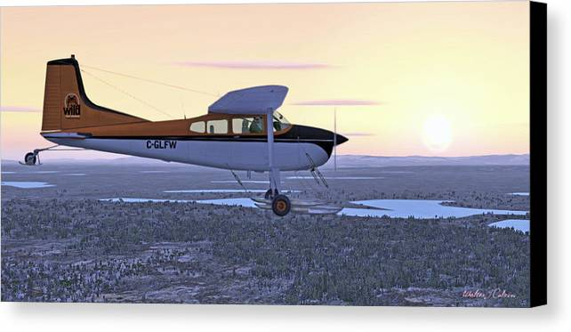 Cessna 185f Canvas Print featuring the digital art Cessna 185f  by Walter Colvin