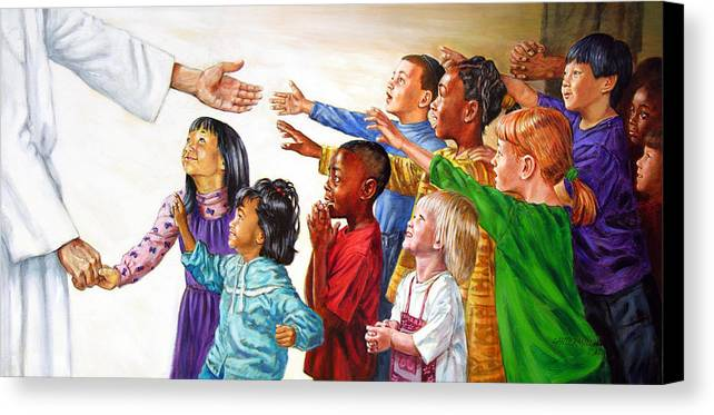 Jesus Canvas Print featuring the painting Children Coming To Jesus by John Lautermilch