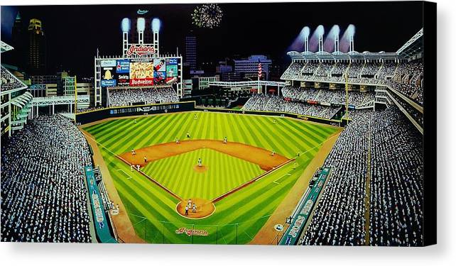 Cleveland Canvas Print featuring the painting Cleveland Jackobs Nocturn Fireworks by Thomas Kolendra