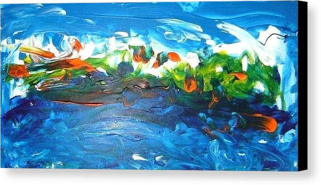 Firmament Canvas Print featuring the mixed media Creation II by Luz Elena Aponte