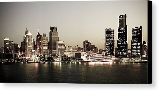 Detroit Canvas Print featuring the photograph Detroit Skyline At Night by Levin Rodriguez