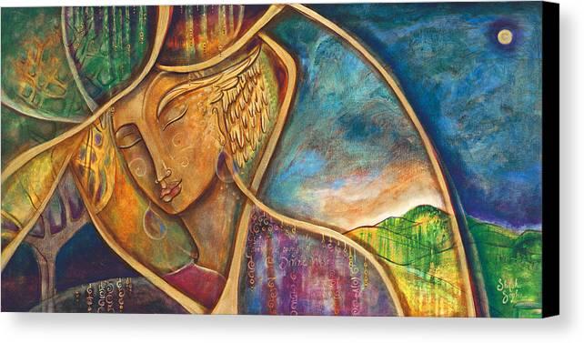 Divine Wisdom Canvas Print featuring the painting Divine Wisdom by Shiloh Sophia McCloud