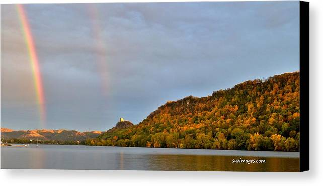 Double Rainbows Canvas Print featuring the photograph Double Rainbow by Susie Loechler