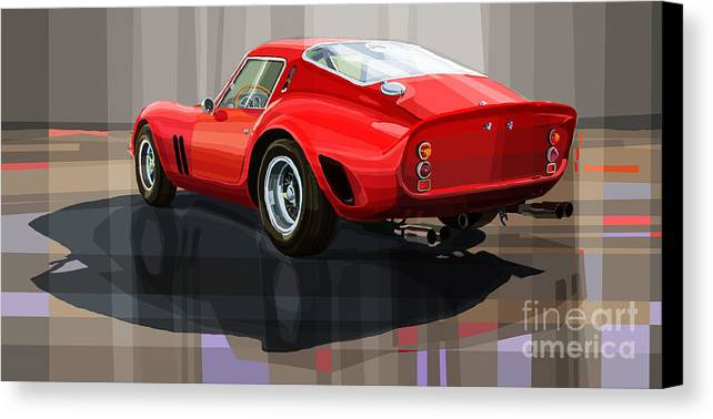Automotive.digital Canvas Print featuring the digital art Ferrari 250 Gto by Yuriy Shevchuk