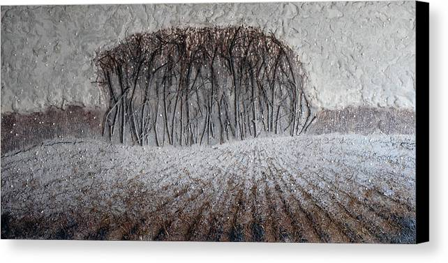 Encaustic Canvas Print featuring the painting Field In October by Alex Wasnick
