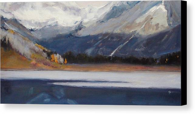 Landscape Canvas Print featuring the painting First Snow Over Trout Lake by Maryann Brummer