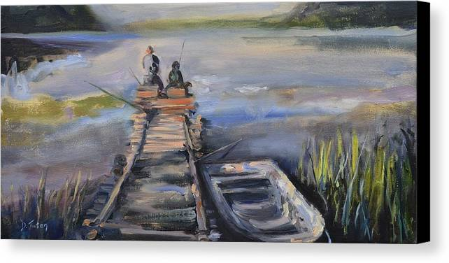 Relaxation Canvas Print featuring the painting Gone Fishin' by Donna Tuten