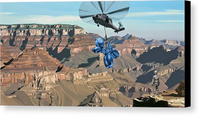 Astronaut Canvas Print featuring the painting Grand Canyon by Scott Listfield