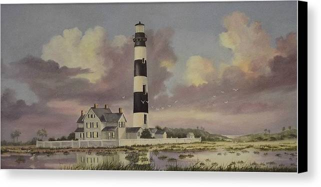 Lighthouse Canvas Print featuring the painting History Of Morris Lighthouse by Wanda Dansereau