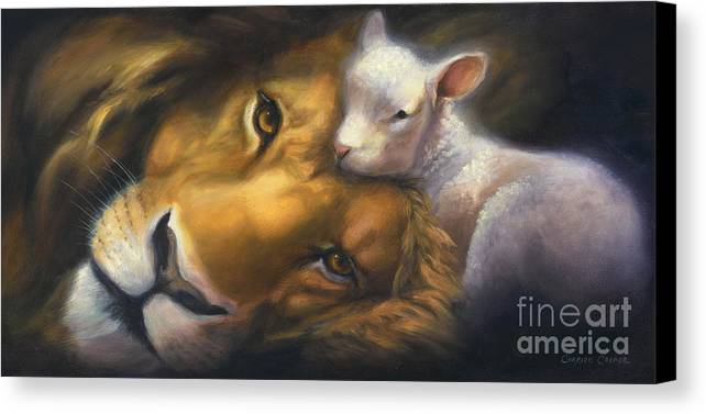 Lion And Lamb Canvas Print featuring the painting Isaiah by Charice Cooper