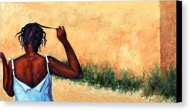 Haiti Painting Canvas Print featuring the painting Lucie In Haiti by Janet King