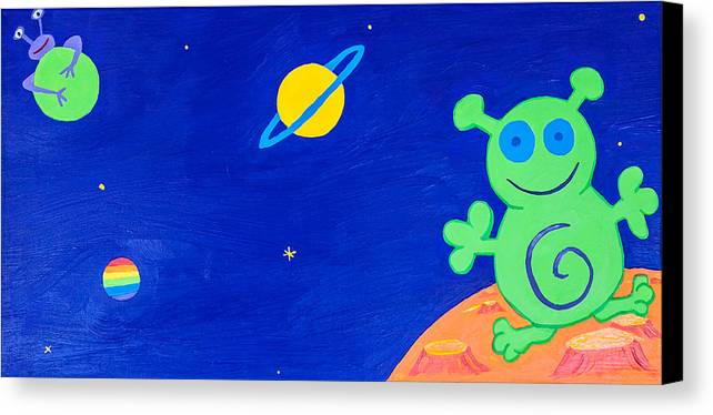 Childrens Canvas Print Canvas Print featuring the painting Outer Space- Part 4 Et by Sunny Luy