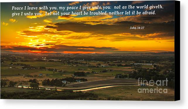 Scripture Photos Canvas Print featuring the photograph Peace by Robert Bales