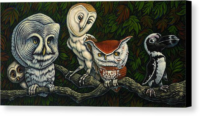 Owls Canvas Print featuring the painting Personalities by Aaron Aboud