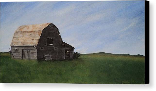 Prairie Canvas Print featuring the painting Prairie Barn by Jesslyn Fraser