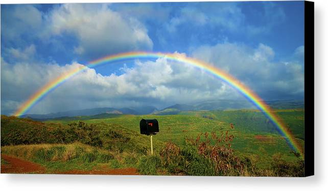 Amazing Canvas Print featuring the photograph Rainbow Over A Mailbox by Kicka Witte