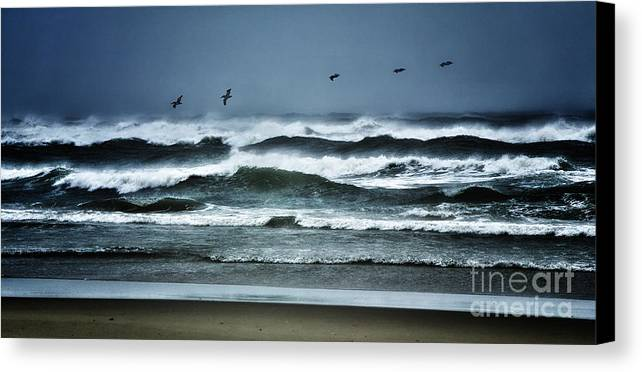 North Carolina Canvas Print featuring the photograph Riders On The Storm 1 - Outer Banks by Dan Carmichael
