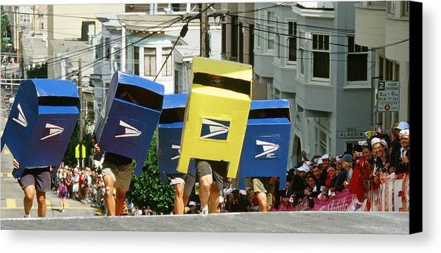 San Francisco Canvas Print featuring the photograph Running Mail Boxes by Gary Hromada