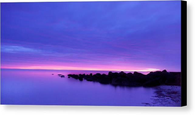 Tranquil Scene Canvas Print featuring the photograph Sun Set by Adam Caron