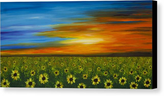 Sunflower Canvas Print featuring the painting Sunflower Sunset - Flower Art By Sharon Cummings by Sharon Cummings