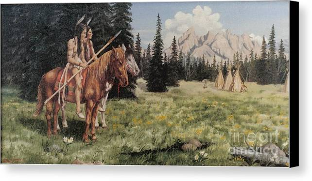 Landscape Canvas Print featuring the painting The Tetons Early Tribes by Wanda Dansereau