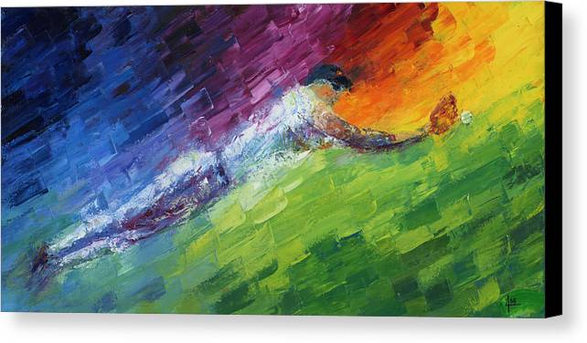 Oil Canvas Print featuring the painting Top Ten Play Of The Day by Ash Hussein