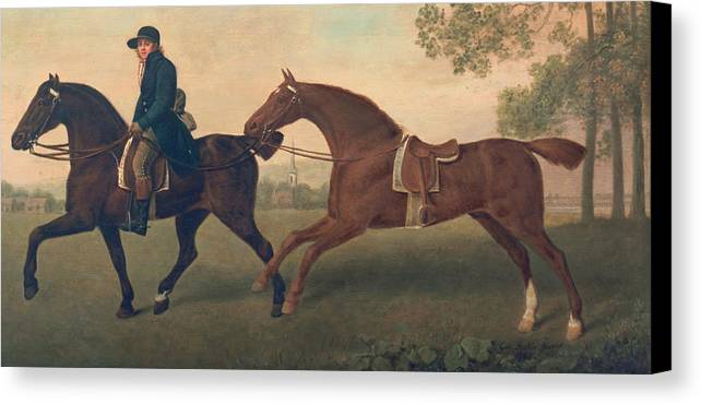 Horse Canvas Print featuring the painting Two Hacks by George Stubbs