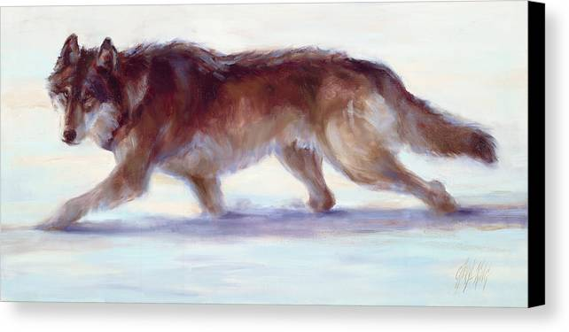 Wolf Canvas Print featuring the painting Wary Passage by Cheryl King