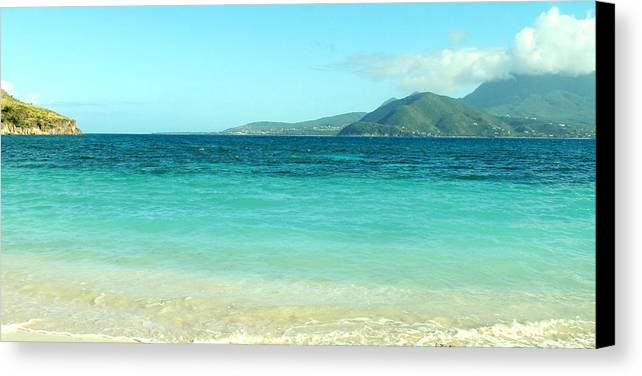 St Kitts Canvas Print featuring the photograph White Sand Blue Sky Blue Water by Ian MacDonald
