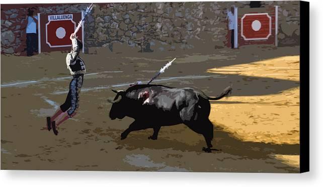 Bullfight - Villaluenga - Flying Banderillero Canvas Print featuring the photograph 046 by Patrick King