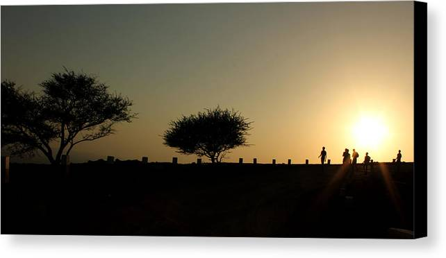 Silhouette Canvas Print featuring the photograph And The Day Ends Quietly.. by Saurabh Shenai