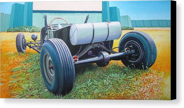 Hot Rod Canvas Print featuring the painting At The Drive In by Jeff Taylor