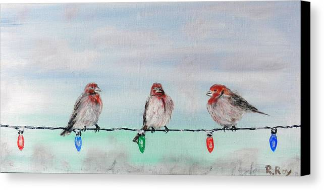 Birds Canvas Print featuring the painting Birds On Christmas Lights by Robert Roy