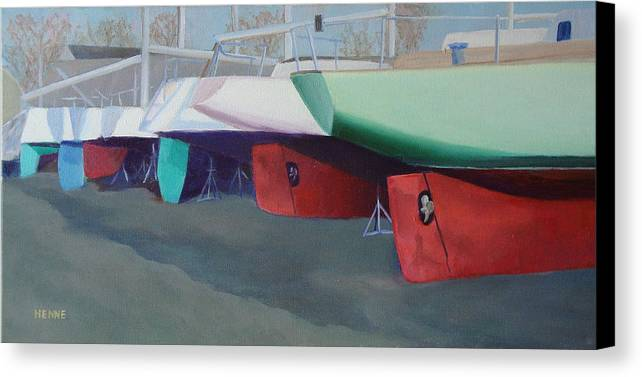 Sailboats Canvas Print featuring the painting Boat Yard Island Heights by Robert Henne