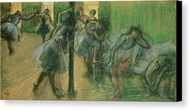 Dancers Rehearsing Canvas Print featuring the painting Dancers Rehearsing by Edgar Degas