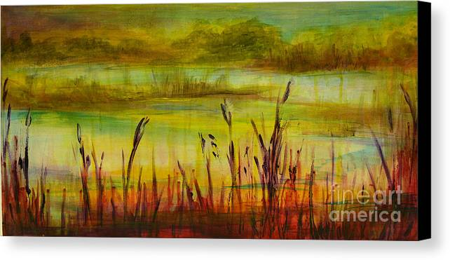 Landscape Canvas Print featuring the painting Marsh View by Sandra Taylor-Hedges