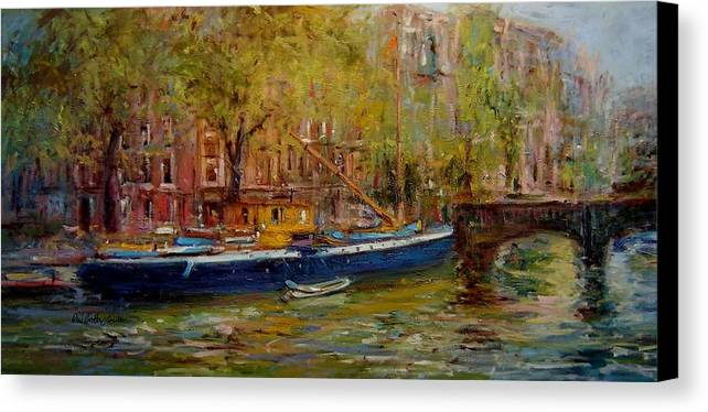 Party Canvas Print featuring the painting Party Boat Amsterdam by R W Goetting