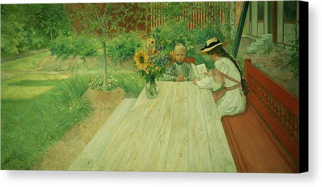 Sunflower; Straw Hat; Reading Canvas Print featuring the painting The First Lesson by Carl Larsson