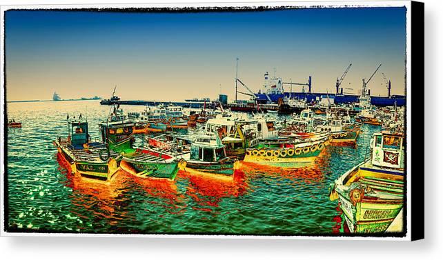 Valparaiso Canvas Print featuring the photograph Valparaiso Boats by Peter Crass