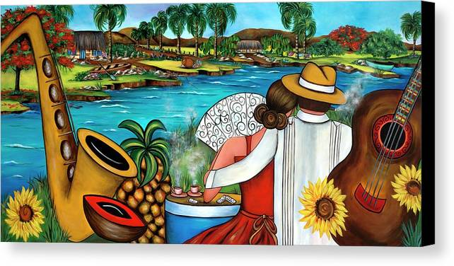 Cuba Canvas Print featuring the painting A Place To Remember by Annie Maxwell
