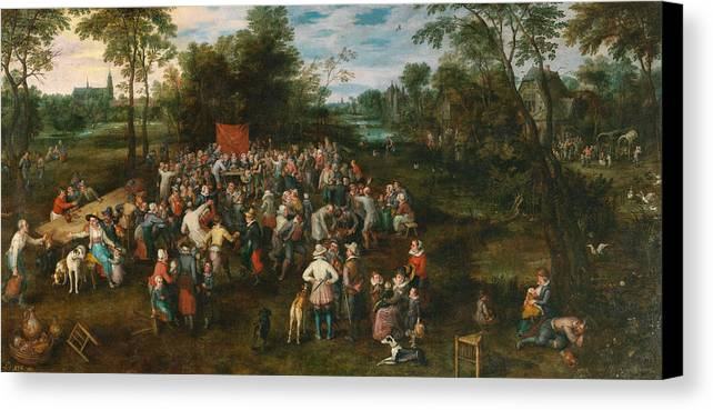 Arts Canvas Print featuring the painting Wedding Banquet by Jan Brueghel the Elder